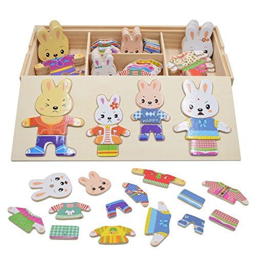 PAMRAY Rompecabezas Vestir Juguetes Puzzles Osos Conejos