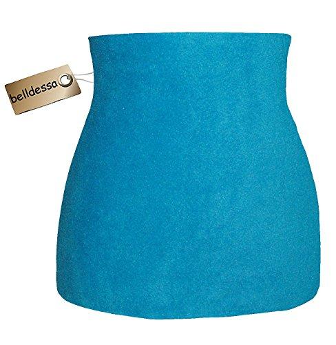 Fleece - Polarfleece - türkis / azur blau - Nierenwärmer / Rückenwärmer / Bauchwärmer / Shirt Verlängerer - Größe: Damen Frauen XL - ideal auch für Blasenentzündung und Hexenschuss / Rückenschmerzen / Menstruationsbeschwerden (Cashmere-fleece-shirt)