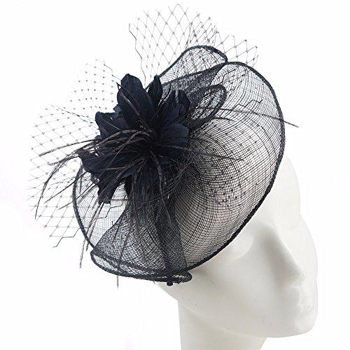 1722e884207357 Koola's hats Damen Fascinator Haarreif mit Bommel und Garn Haarschmuck Netz  Schmuck mit Blummen gefaltetes Kopfputz