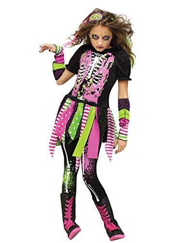 Kinder Halloween Neon Zombie Mädchen Kostüm Medium (8-10 years)