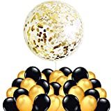 Decoracion Nochevieja 2020, 50 Globos Oro y Nero + 1 Globo Confeti Gigante XXL Confetti Balloon. Globo Transparente con Confeti Dorado para Fiesta de Año Nuevo, Cumpleaños,...