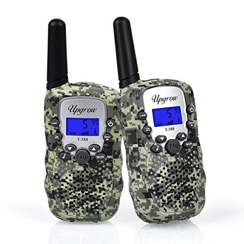 (Upgrow 2X Walkie Talkies Set Kinder Funkgeräte 3KM Reichweite 8 Kanäle mit Taschenlampe Walki Talki Kinder Spielzeug (Tarnfarbe))