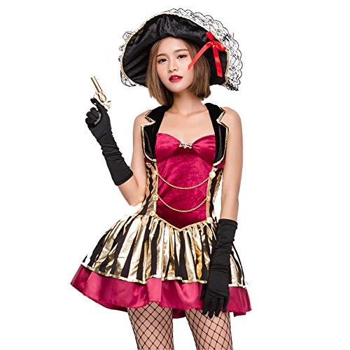 QAR Halloween-Kostüm COS Schönheit Pirat Kostüm Weibliche Hängenden Hals Pirat Rock Uniform Anzug ()