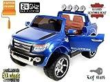 pequenenes Elektroauto für Kinder Ford Ranger Wildtrak, offiziell lizensiert, Fernbedienung 2.4GHz Bluetooth Leder, Türen und Motorhaube, Sitze, Rollen aus Gummi, Modell 2017