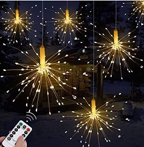 ILOVEDIY Feu d'artifice 120 LED Eclairage a Pile avec Télécommande Fil de Cuivre Decoration Mariage Noël (Blanc chaud)