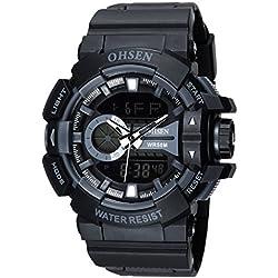 OHSEN Men Women Sport Watch Waterproof Cool Style LED Digital Analog with Alarm Stopwatch Chronograph - Black