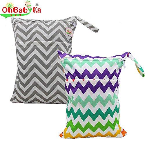 Ohbabyka Tasche für wiederverwendbare Windeln mit Doppelreißverschluss