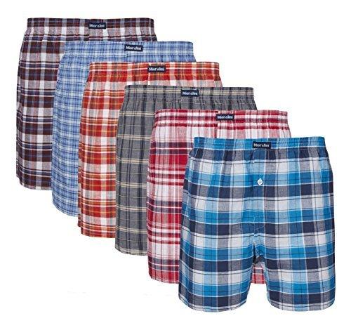 6 gewebte 100% Baumwoll Herren Boxershorts in schönen Mustern mit und ohne Eingriff wahlweise auch mit Eingriff und Tasche Boxers Shorts Webboxer Boxer (7-XL, Mit Eingriff)