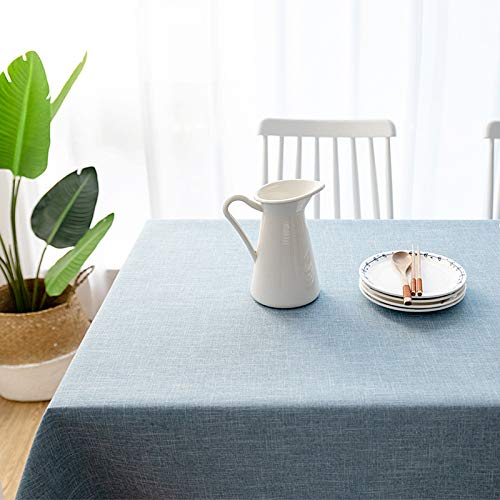 Luckyzc Cotton Linen Tablecloth, Simple Household Dustproof Meal for Party Kitchen Table Decoration, Blue, 140x180cm