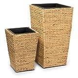 2er Set Pflanzkübel Blumenkübel LAVIA Wasserhyazinthe, Maße: 46x46x80 cm und 35x35x52 cm, braun - Pflanztopf, Pflanzgefäß für Innenbereiche