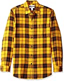Amazon Essentials Herren Slim Fit Kariertes Flanellhemd mit langen Ärmeln, Gelb (Yellow Plaid), Gr. Small