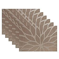 SiCoHome Placemats,Set of 6,Dining Room Placemats for Table Heat Insulation Stain-resistant Woven Vinyl Kitchen Placemats(Brown)