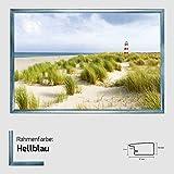 Kunstdruck Poster - Leuchtturm Motiv mit Dünen und Meer