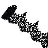 VU100 Spitzenbesatz Brautkleid Blumen Quaste Ösenapplikation Stoff zum Nähen DIY Basteln für Hochzeit Valentinstag Party 2 Meter schwarz (Breite 8,3 Zoll)