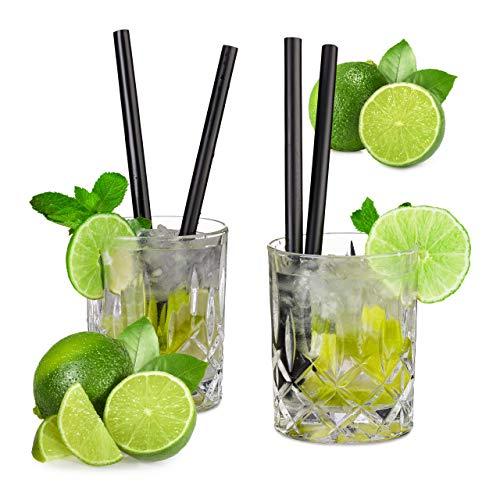 Relaxdays Profi Gastro Strohhalme 50er Set, Cocktail, Party, extrem Starker Kunststoff, 10 mm Ø, 20 cm lang, schwarz