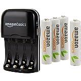 AmazonBasics Batterieladegerät für Ni-MH AA / AAA Akkus mit USB-Port und vorgeladene Ni-MH AAA-Akkus, 1.000 Zyklen, 4 Stck