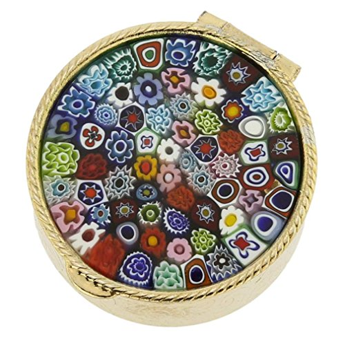 glassofvenice Murano Glas klein Millefiori Pillendose–Silber rund