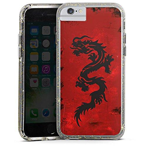 Apple iPhone X Bumper Hülle Bumper Case Glitzer Hülle Drache Dragon Tribal Bumper Case Glitzer gold