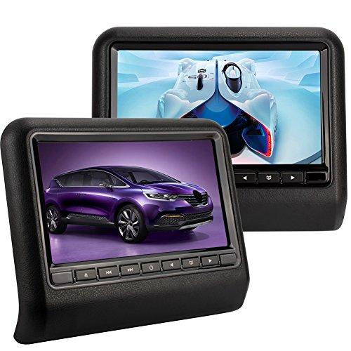 NAVISKAUTO Twin Screens Universal Car DVD Players Multimedia Headrest Monitors 9 Inch Wide View Screen IR FM Transmitter Support Game ,Include Remote Control (Black)