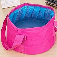 Portable Outdoor 600D Oxford Cloth Fishing Water Basin Travel Camping Washbasin Bucket Sink Bag, Color:Pink