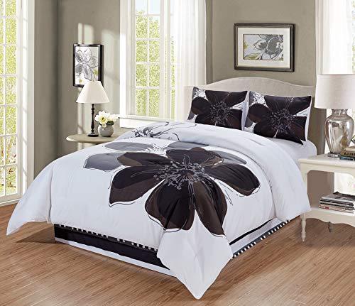 Floral Bettdecke In Voller Größe (3- und 4-teiliges Bettwäsche-Set mit Hibiskusblüten in Grau/Weiß/Schwarz Modern Twin Schwarz/grau/weiß)
