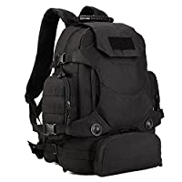 Huntvp 40L Tactical Backpack MOLLE Military Assault Pack 3 Way Carring Bag Waterproof Rucksack for Camping Hiking Hunting Black