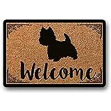 Novelcustom Welcome Mat,West Highland Terrier Felpudo para Perros Westie Felpudo Regalo De Inauguración De La Casa Felpudo para Perros Felpudo Felpudo Personalizado Lindo Nuevo Hogar 40X60Cm