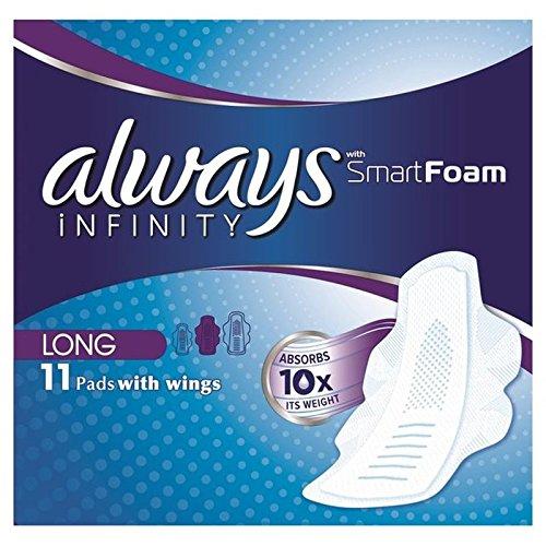always-infinity-mas-largos-sanitarias-toallas-con-alas-11-por-paquete