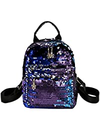 BESTVECH Women Shining Sequins Leather Backpack Girl Small Travel Shoulder Schoolbag