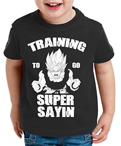 Training to go Super Saiyan Camiseta para Niños T-Shirt Goku Dragon Master Ball Vegeta Turtle Roshi Db, Farbe2:Negro;Kinder T-Shirt Größe:134/146