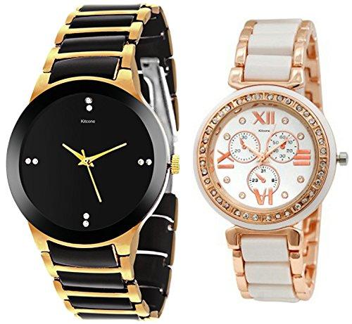Kitcone Jewellery Style Diamond Studded Like Multi-Colour Dial Women\'s Watch Men\'s Watch & Couple Watch - Type-1353 (PACK OF 2)