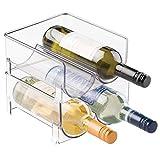 mDesign 2er-Set Flaschenregal – stapelbare Aufbewahrung für Weinflaschen und andere Getränke – modernes Weinregal aus Kunststoff für 4 Flaschen – transparent