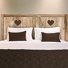 Adhesivo para pared de cabecero de cama de tablas de madera