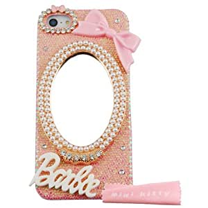 Mini kitty-Handmade Luxury 3D Mirror & Bow barbie letter Diamond Crystal Bling Pink Case Cover for iphone 5 5g 5s
