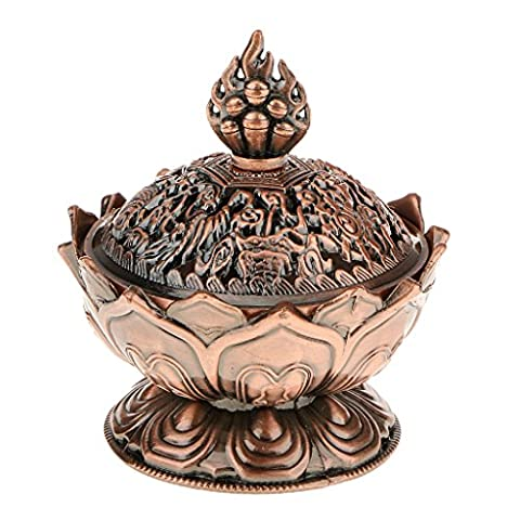 Lotus Incense Smoke Cone Aroma Burner Holder Stove Backflow Censer Decor - Copper