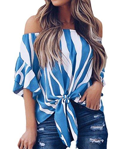 TOUVIE Damen Bluse Sommer Kurzarm Schulterfrei Causal Oberteile Streifen Shirt Strand Tunika Blau L