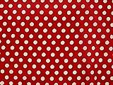 Baumwollstoff mit Punkten, 0,8cm, rot, ca. 135cm