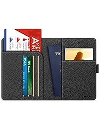 MoKo Carteras / Funda de Pasaporte - Cubierta RFID Bloqueo, Multipropósito, Passport Holder / Case Cover, Cuero Imitado, Cartera de Viaje - Negro