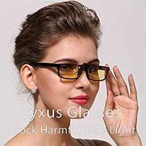 Cyxus Blue Light Filter Glasses. UV Blocking Anti-Eye Strain Clip On Eyeware , Computer/Cell Phone/PC Game/TV Radiation Protection from Cyxus Technology Group Ltd