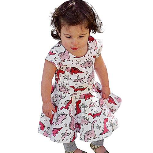 ggong Kleinkind Kinder Baby Mädchen Cartoon Dinosaurier Print Sun Kleid Kleidung Outfits Mode Kurzarm Kleid Reizvolle Prinzessin Kleid Elegant Kinderkleidung (100, Weiß) (Dinosaurier-show-halloween-kostüm)