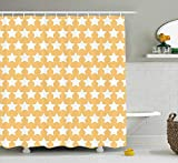MSGDF Yellow and White Shower Curtain, Big Stars in Soft Tones with Classy Fashion Pattern Retro Elements, Fabric Bathroom Decor Set with Hooks, 60 X 72inch, Apricot Cream