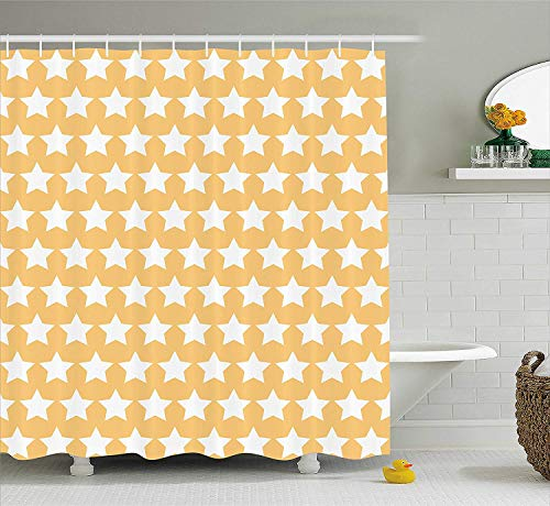XIAOYI Yellow and White Shower Curtain, Big Stars in Soft Tones with Classy Fashion Pattern Retro Elements, Fabric Bathroom Decor Set with Hooks, 60W X 72L Inche Long, Apricot Cream -