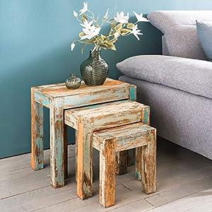 WOHNLING YAMAS Satztisch, Sleeper Wood, Mehrfarbig, 49x47x30 cm