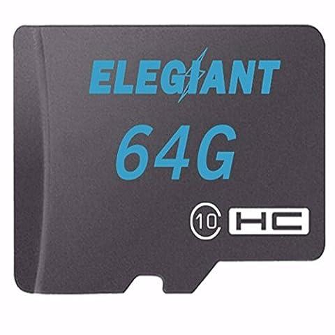 ELEGIANT 64Go Micro SD TF Carte Mémoire Carte mémoire SDHC Classe 10 Adaptateur Pour Smartphones