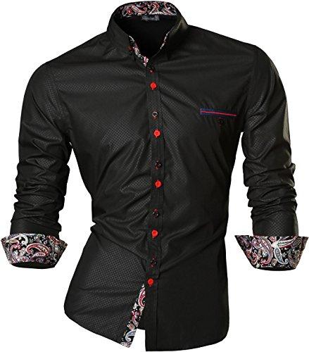 Jeansian uomo camicie un colore solido senza fiori moda abito camicia affari slim casual shirts z027 black l