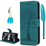 S8 Case, YOKIRIN Owl Tree Relief Embossed Premium PU Leather Wallet Folio Flip Stand Cover Case With Card Slots Cash Pouch Drop-Protection Bumper Shell for Samsung Galaxy S8 - Blue