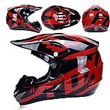 JL-Q Adulte Motocross Casque Lunettes Masque De Protection Gants Fox Moto Racing Hommes Et Femmes Casque Plein Visage,B,L