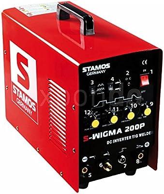 Stamos Germany - S-TIGMA 200P - Equipo de soldar TIG DC - MMA - Impulso - 230 V - max. 200 A - ED 60 % - HF - alta frecuencia -13,0 kg