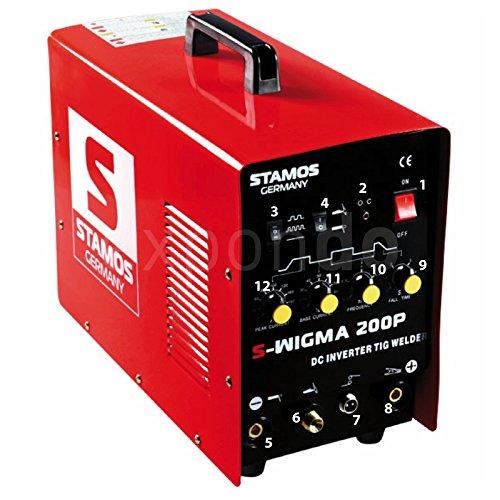 Preisvergleich Produktbild Stamos Germany - S-WIGMA 200P - DC WIG-Schweißgerät - MMA - Puls - 230 V - max. 200 A - ED 60 % - HF -13,0 kg