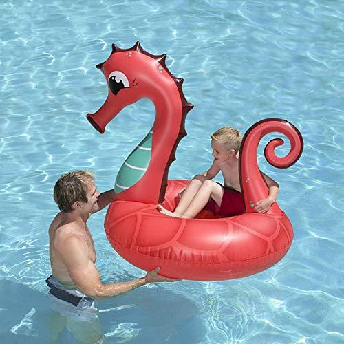 mmen Ring Sommer Wasser Spielzeug Erwachsene Kinder aufblasbare Schwimmring Strand Schwimmbad aufblasbare Sitz Baby Schwimmen Werkzeuge@150 # rotes Seepferdchen ()